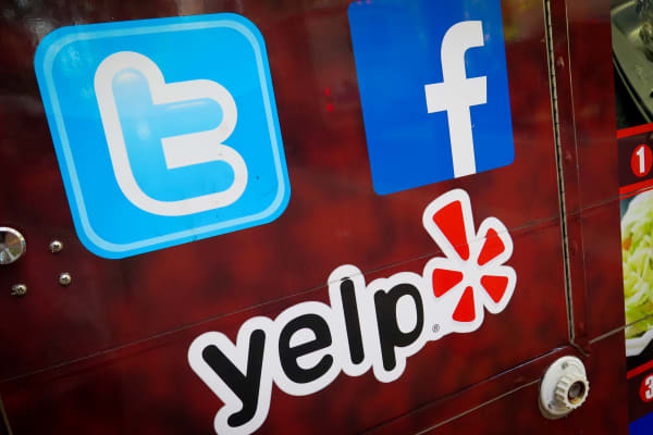 Social media logos for Tumblr, Facebook and Yelp.