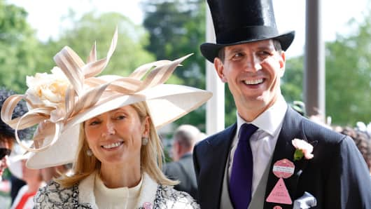 Crown Princess Marie-Chantal of Greece and Crown Prince Pavlos of Greece attend day 3, Ladies Day, of Royal Ascot