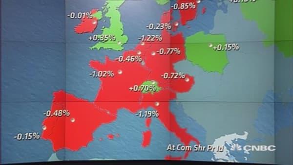 European stocks end mostly lower as Greek standoff returns