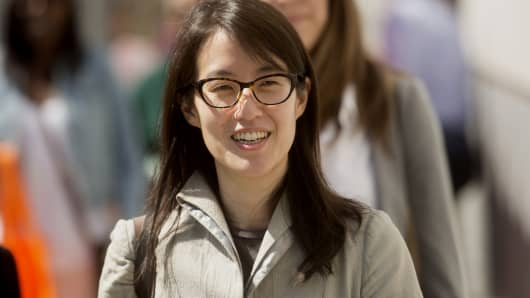 Ellen Pao, former junior partner at Kleiner Perkins Caufield & Byers and current CEO of Reddit, arrives at state court in San Francisco in March