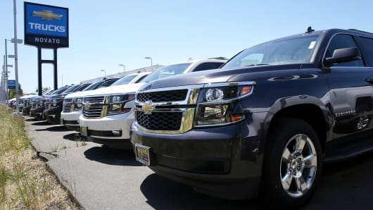 Chevrolet trucks are displayed at Novato Chevrolet in Novato, California.