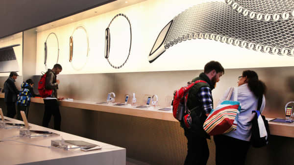 Shoppers in an Apple store in New York.