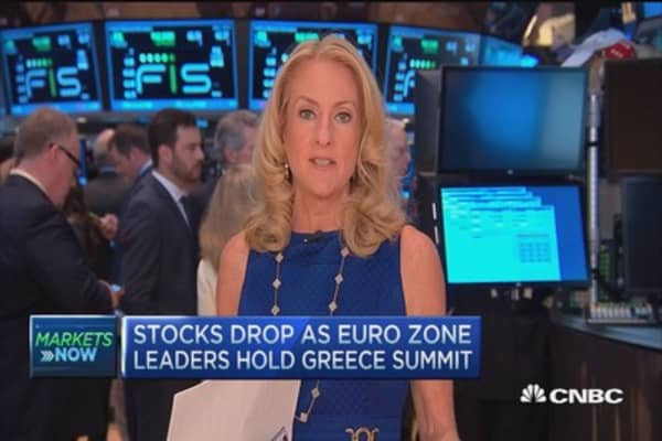 Market open: Stocks drop amid Greece summit