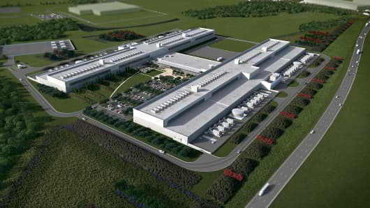 A rendering of the upcoming Facebook data center in Fort Worth, Texas.