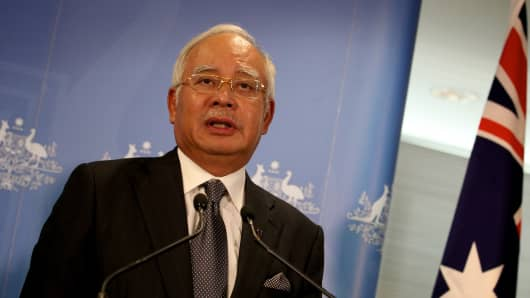 Malaysian Prime Minister Najib Razak on April 3, 2014 in Perth, Australia