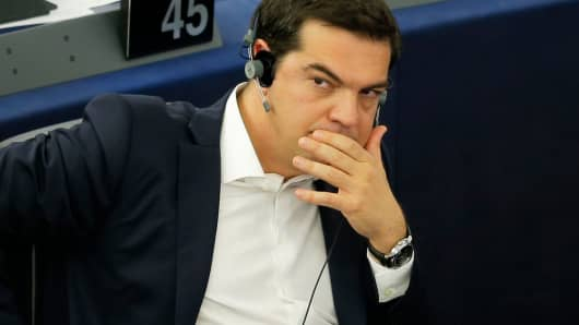 Greek Prime Minister Alexis Tsipras attends a debate on Greece at the European Parliament in Strasbourg, France, July 8, 2015.