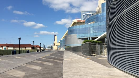 The Atlantic City Boardwalk has seen busier days.