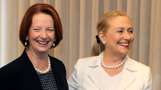 Julia Gillard and Hillary Clinton
