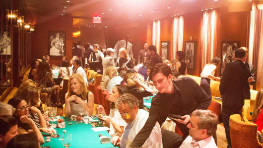 Attendees at Heidi Messer's poker night for professionals