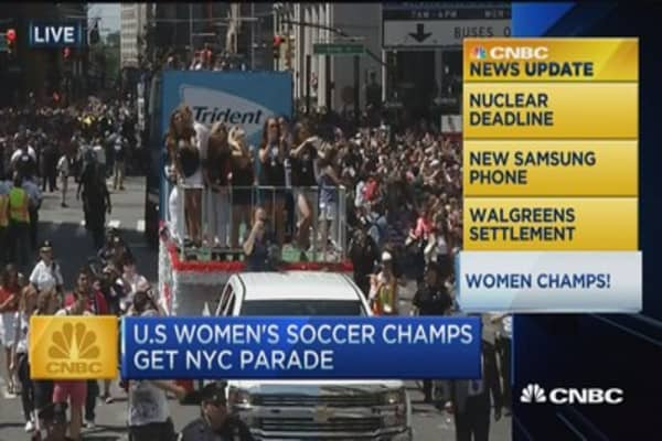 CNBC update: Women champs parade NYC!