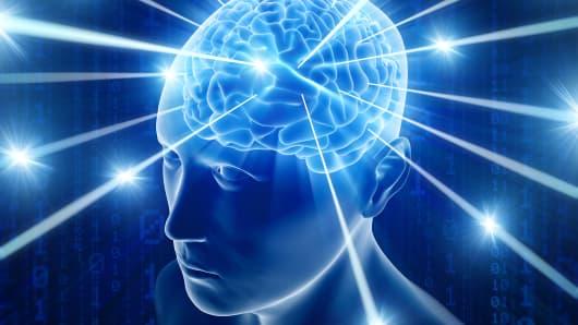 Human brain high tech illustration