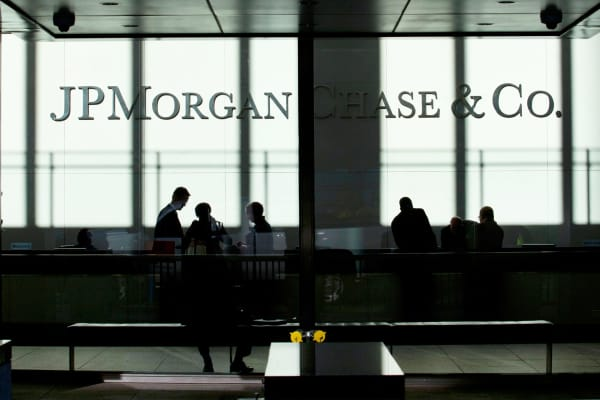 People inside JP Morgan Chase headquarters in New York.
