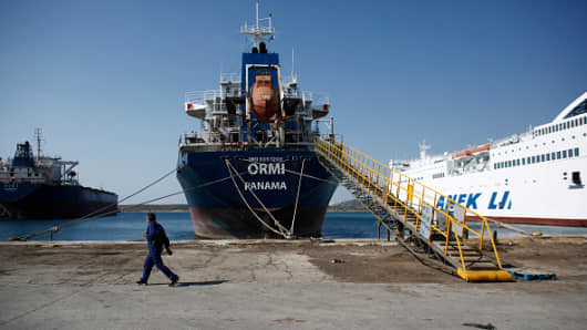 Bulk carrier Ormi, operated by the Pilot Shipping Company, as the vessel sits moored at the quay side in the port of Perama, Greece