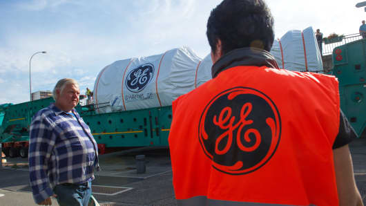 A GE turbine is transported to a power plant in Belfort, France, on June 29, 2015.