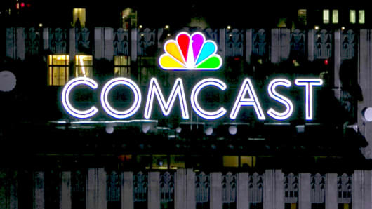 The Comcast logo atop the Comcast building in New York