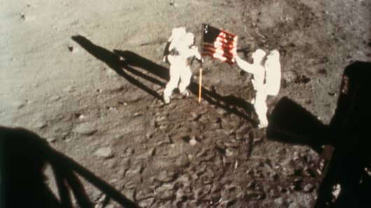 Apollo 11, the first manned lunar landing mission, was launched on 16 July 1969.