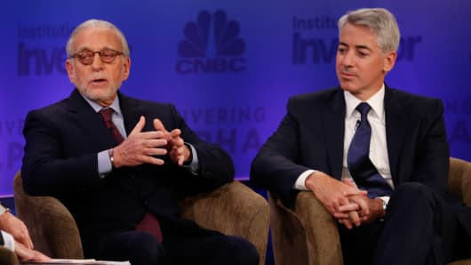 Nelson Peltz and Bill Ackman at Delivering Alpha 2015 in New York.