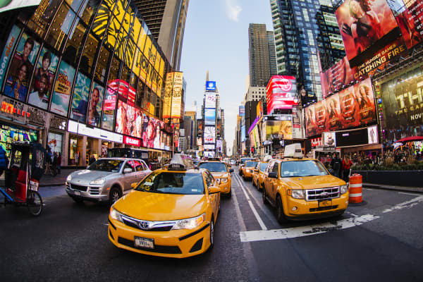 Taxi cabs in New York's Times Square