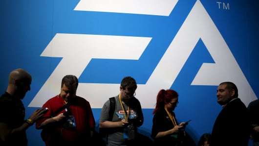 An Electronic Arts (EA) video game logo is seen at the Electronic Entertainment Expo in Los Angeles last year.