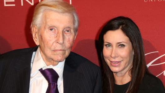 Sumner Redstone and Sydney Holland in 2014
