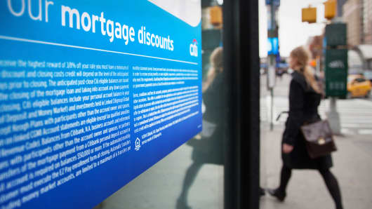 An ad for mortgages at a Citibank branch in New York.