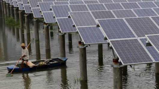 A man boats in the Jiaxing, Zhejiang province of China, which built its first solar power station above a 160,000-square-meter fishpond.