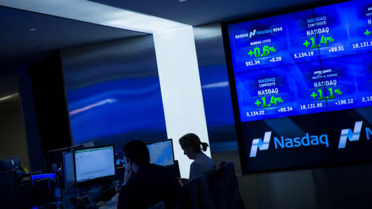 The NASDAQ exchange is seen in New York City.