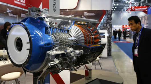 A model of a Honeywell Aerospace engine at a Seoul International Aerospace & Defense Exhibition in South Korea.