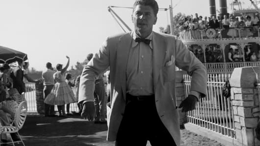 Actor Ronald Reagan attends the opening day of Disneyland in Anaheim, California.