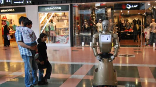A PAL Robotics robot serving as mall ambassador.