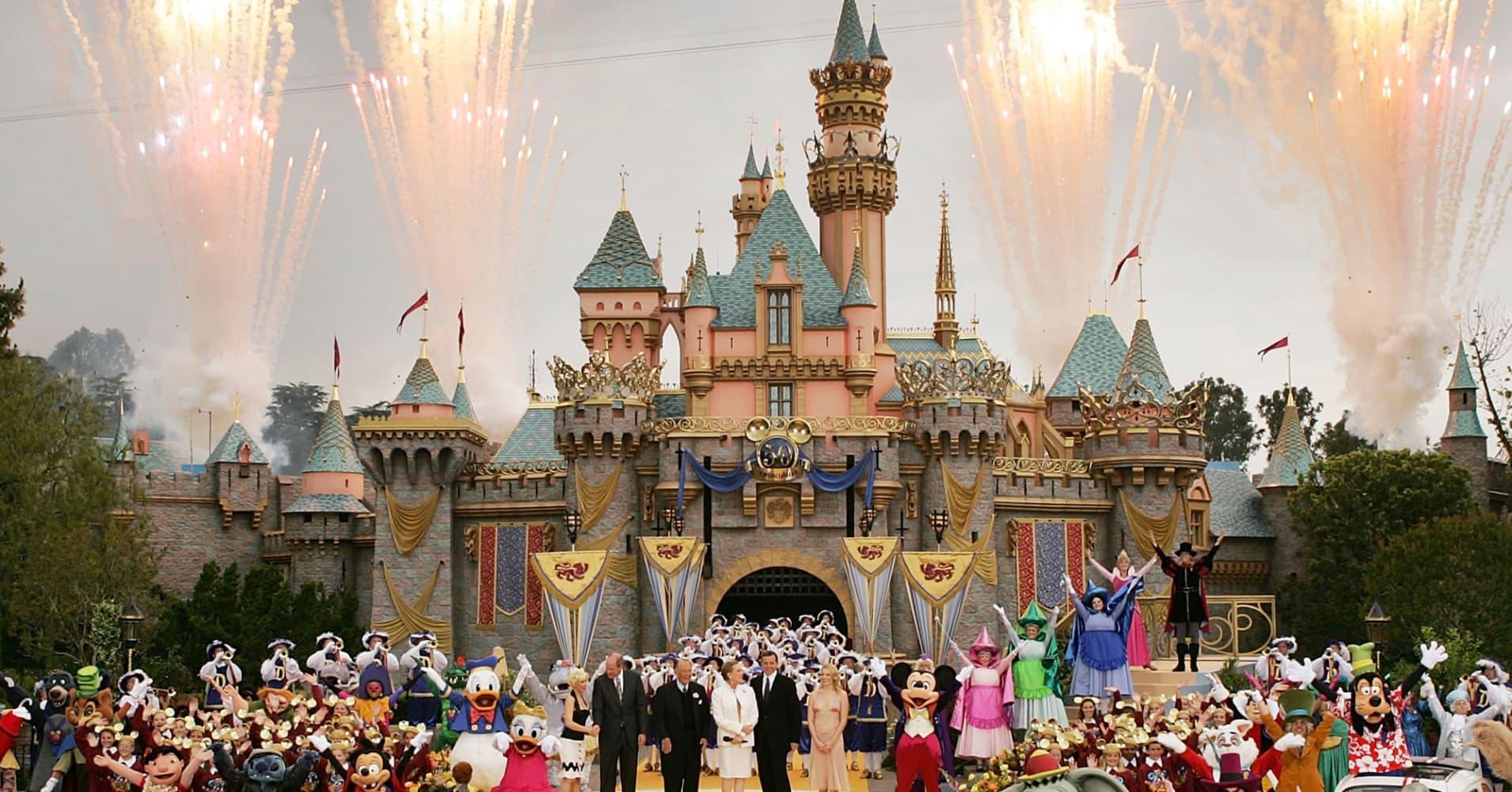 Disneyland castle in Anaheim, California
