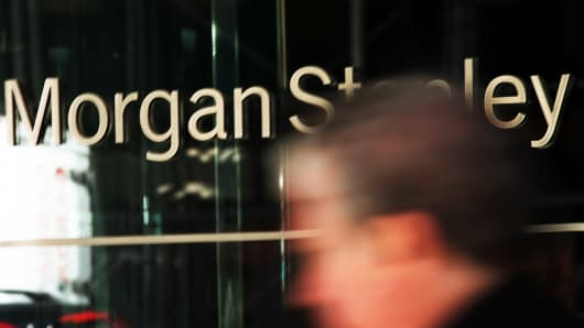 A person walks by Morgan Stanley's New York headquarters.