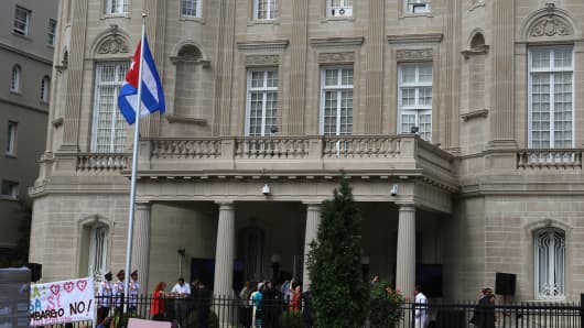 The flag of Cuba is raised at the Cuban Embassy in Washington, D.C. for the first time in five decades.