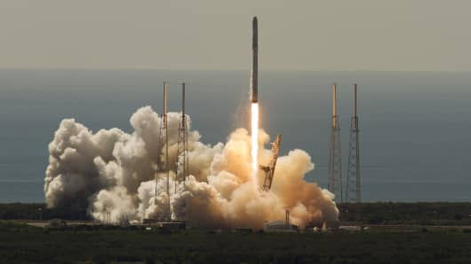 An unmanned SpaceX Falcon 9 rocket launches from Cape Canaveral, Fla., June 28, 2015. The rocket exploded about two minutes after liftoff, destroying a cargo ship bound for the International Space Station, NASA said.