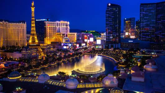 Hotels line the strip in Las Vegas, Nevada.