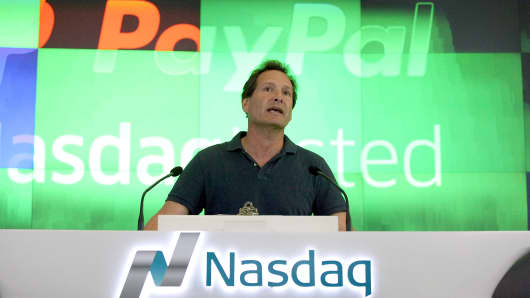 PayPal President and CEO Dan Schulman speaks before ringing the bell at Nasdaq on July 20, 2015 in New York City.