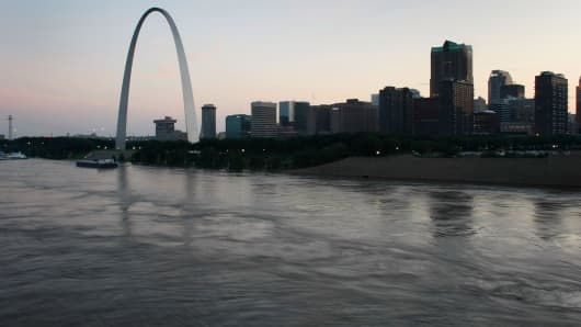 A file photo of the Mississippi River and St. Louis, Missouri.