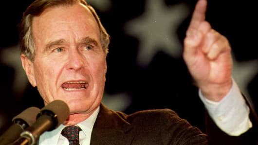Then-President George H.W. Bush campaigning on Nov. 1, 1992.