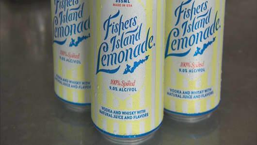 Fishers Island Lemonade cans.