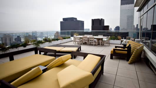 An outdoor terrace of an apartment in One Beacon Court in New York, formerly the residence of Marc Dreier.