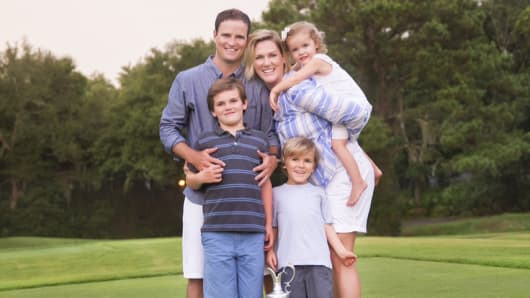 Zach Johnson, British Open winner with his wife, Kim Barclay, and kids, Will, Wyatt and Abby Jane.