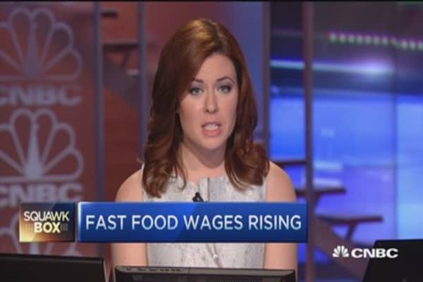 Fast food wages rising