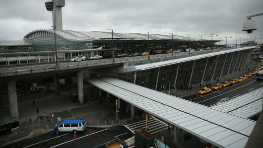 The international arrivals terminal is viewed at New York's John F. Kennedy Airport.
