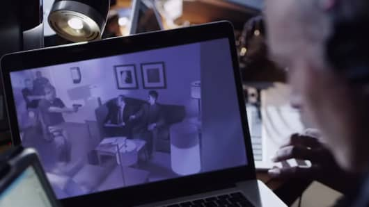 "A scene from an FBI produced video called ""The Company Man"", designed to show how Chinese espionage can operate."