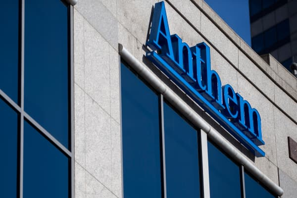 An exterior view of the Anthem Health Insurance headquarters in Indianapolis, Indiana.