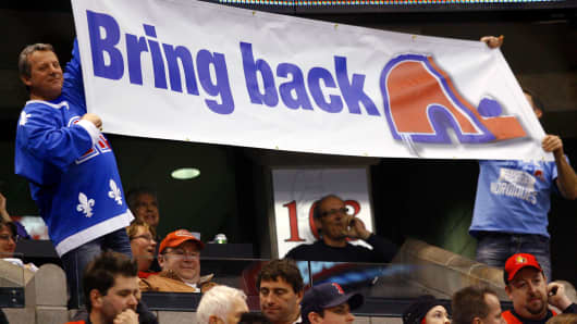 A Quebec Nordiques fan shows his support for their return to the NHL.