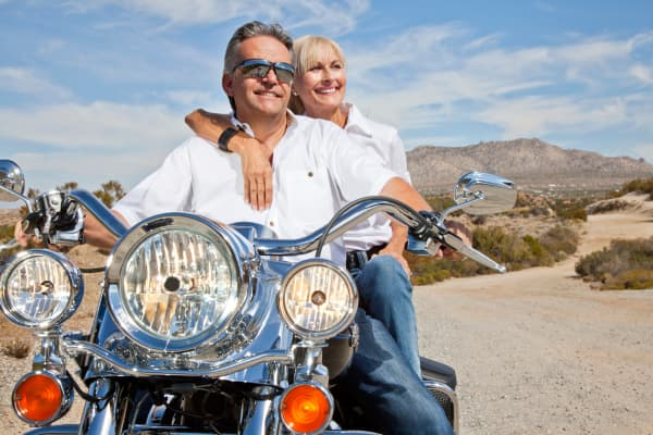 Senior couple motorcycle