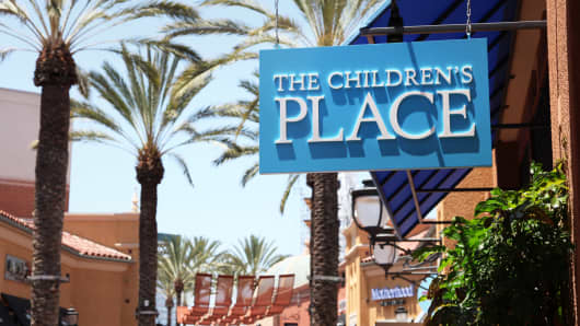 A sign outside The Children's Place store in Irvine, California.