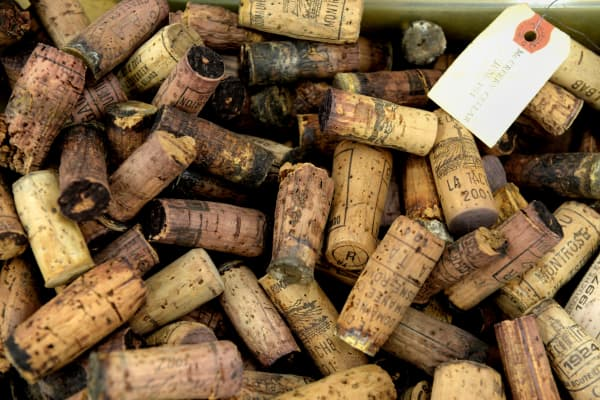 A bin of corks used as evidence in the trial of wine dealer Rudy Kurniawan is on display in Federal Court on December 19, 2013 in New York. Kurniawan was found guilty of masterminding a lucrative scheme to sell fake vintage wine in New York and London.
