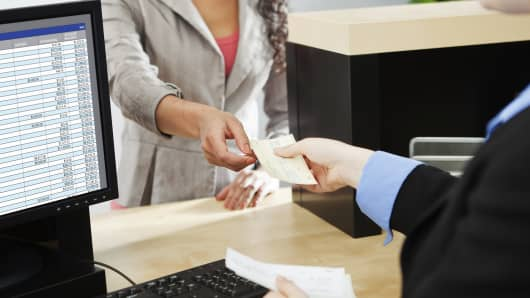 Bank customer teller transaction